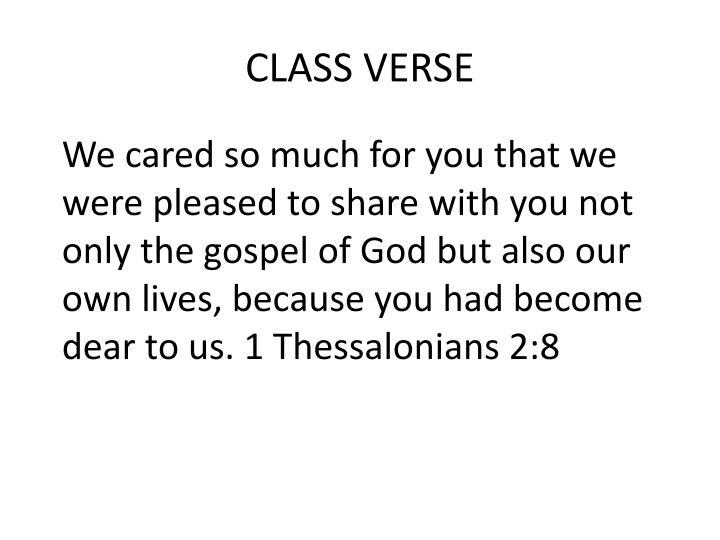 CLASS VERSE