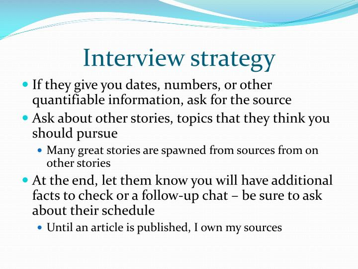 Interview strategy