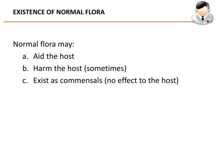 EXISTENCE OF NORMAL FLORA