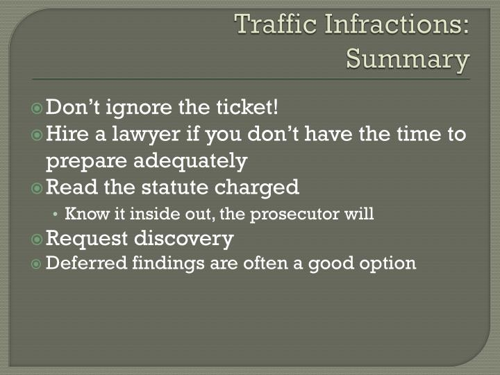 Traffic Infractions:
