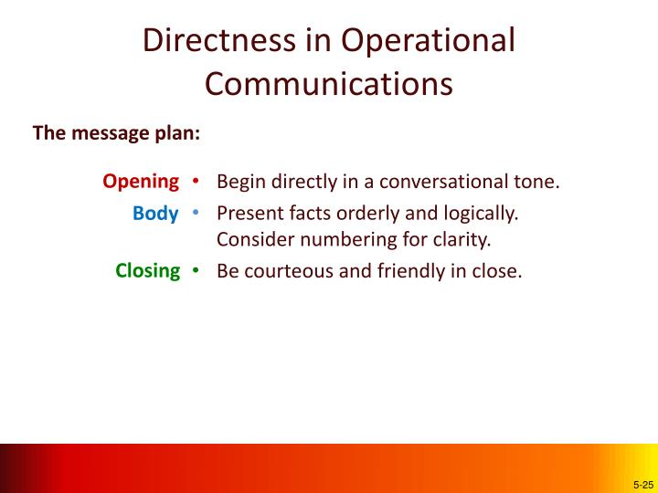 Directness in Operational Communications