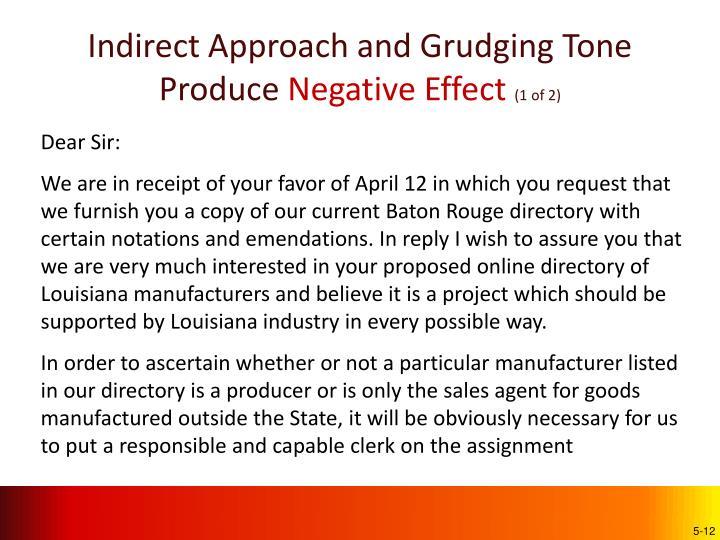 Indirect Approach and Grudging Tone Produce