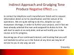 indirect approach and grudging tone produce negative effect 2 of 2