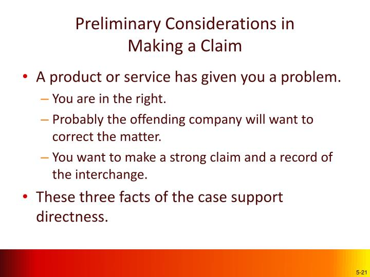 Preliminary Considerations in