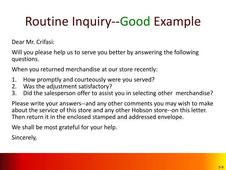 Routine Inquiry--