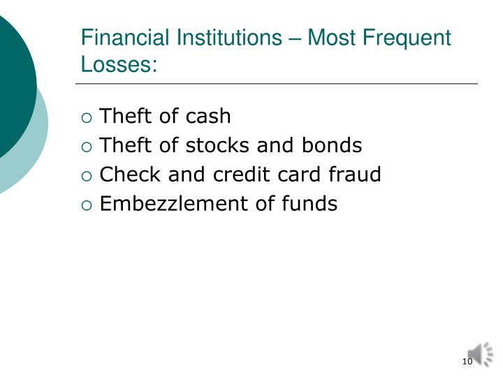 Financial Institutions – Most Frequent Losses: