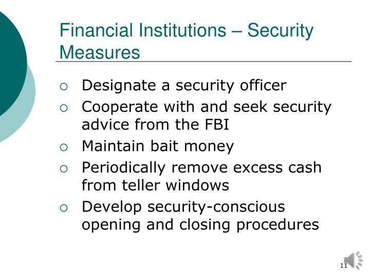 Financial Institutions – Security Measures
