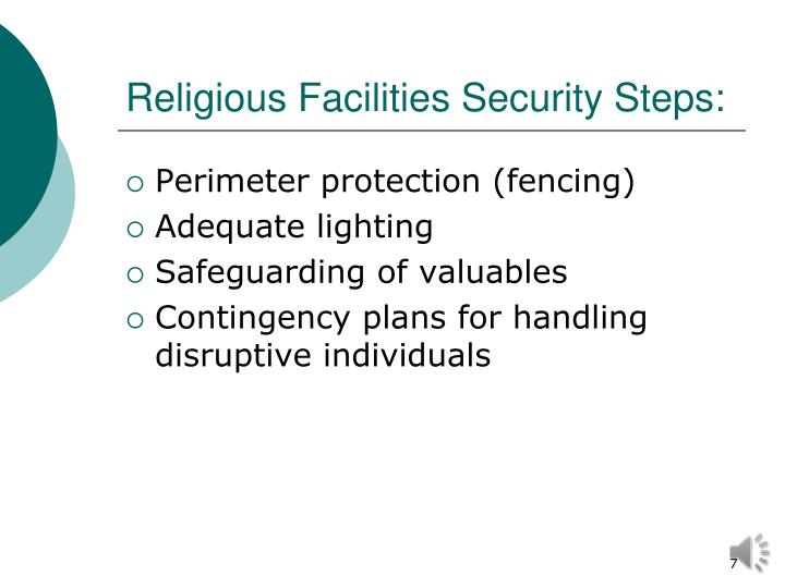 Religious Facilities Security Steps: