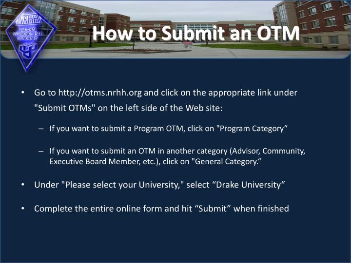 How to Submit an OTM