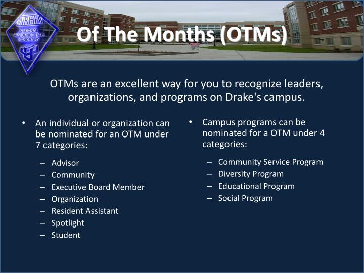 An individual or organization can be nominated for an OTM under 7 categories: