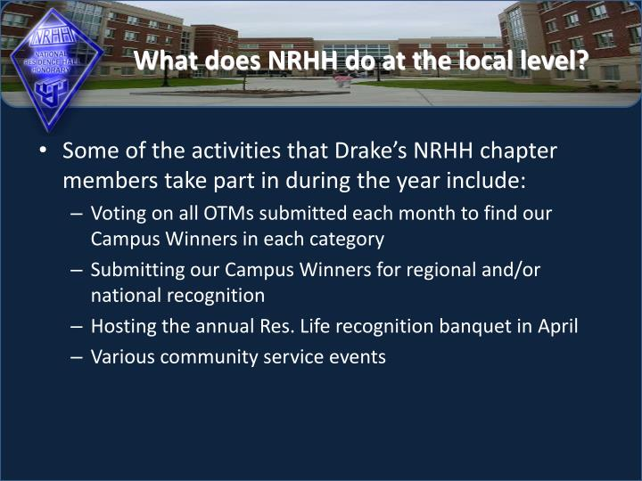What does nrhh do at the local level