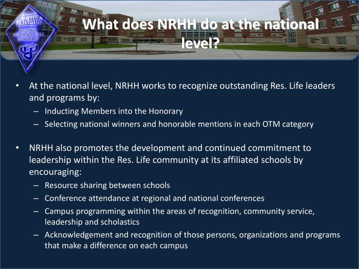 What does NRHH do at the national level?