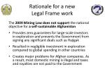 rationale for a new legal frame work