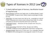 types of licenses in 2012 law