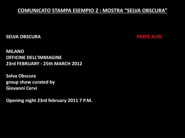 """COMUNICATO STAMPA ESEMPIO 2 : MOSTRA """"SELVA OBSCURA"""""""