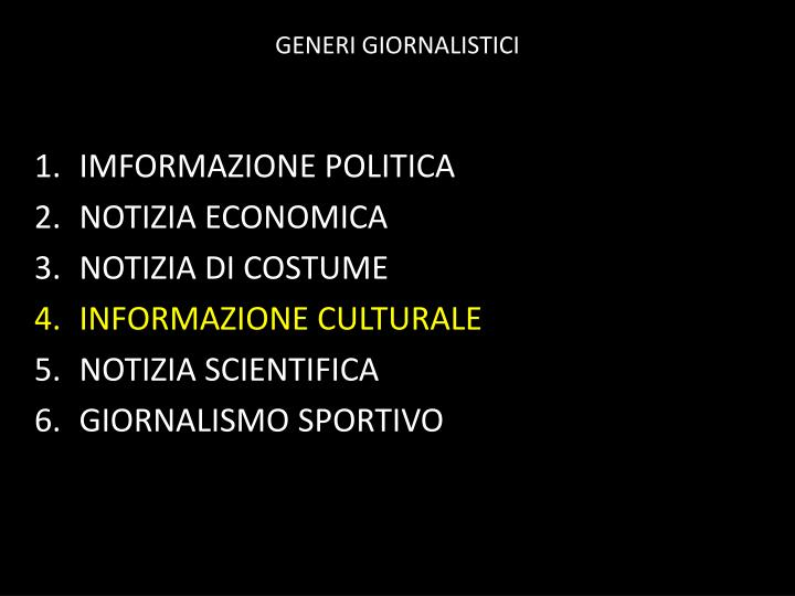 GENERI GIORNALISTICI