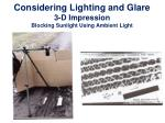 considering lighting and glare 3 d impression blocking sunlight using ambient light