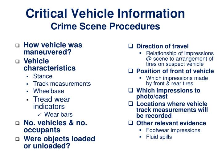 Critical Vehicle Information
