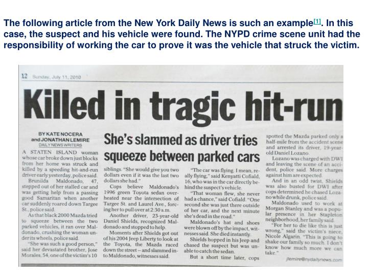 The following article from the New York Daily News is such an example
