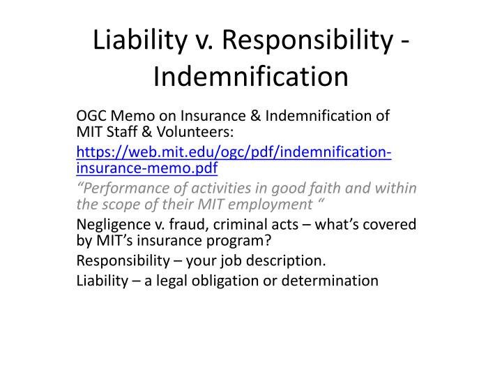 Liability v responsibility indemnification