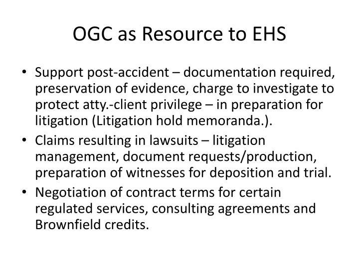 OGC as Resource to EHS