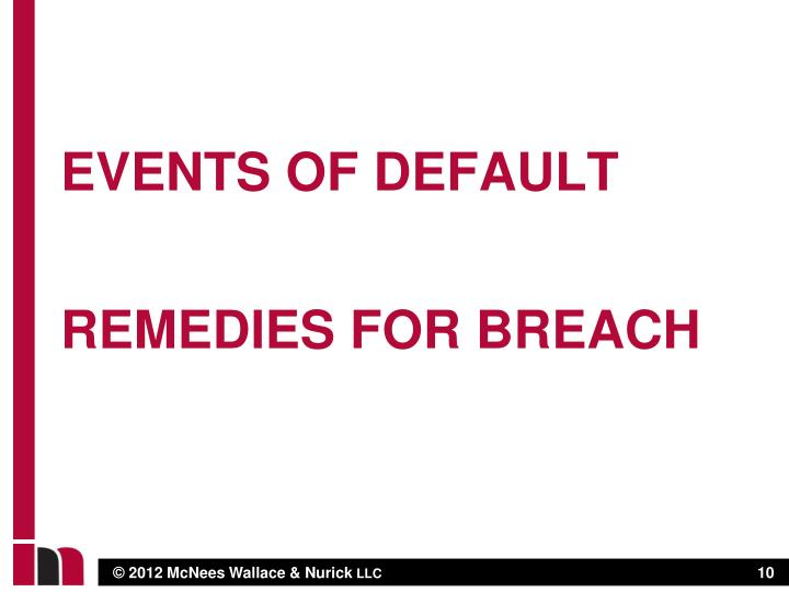EVENTS OF DEFAULT