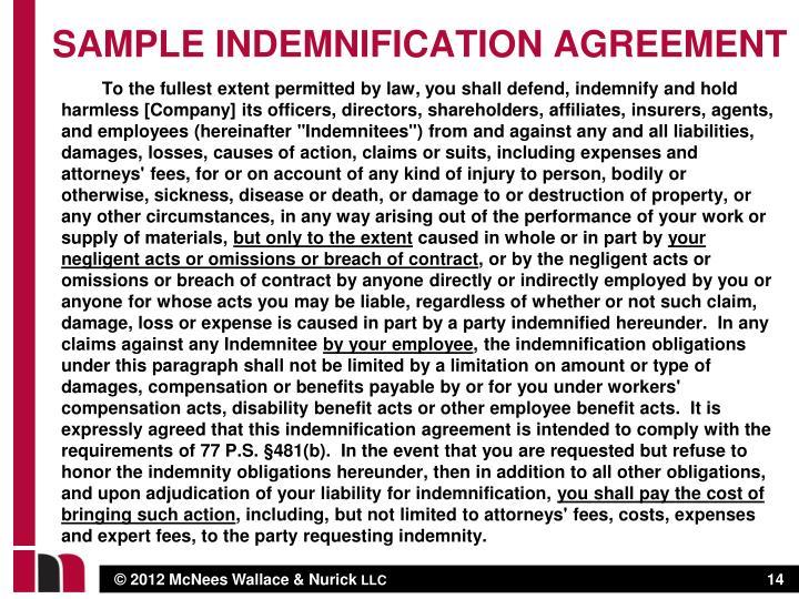 Sample indemnification