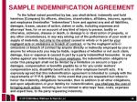 sample indemnification agreement