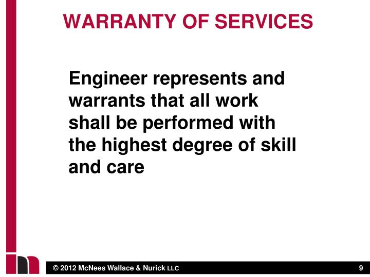 Warranty of services