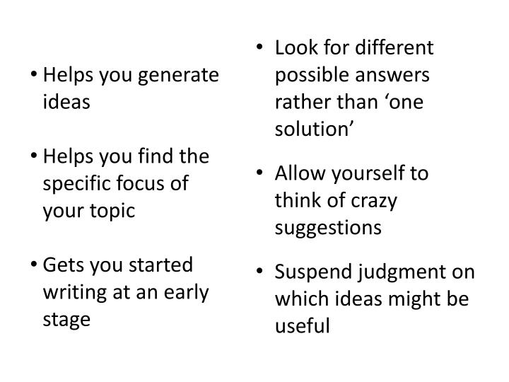 Helps you generate ideas