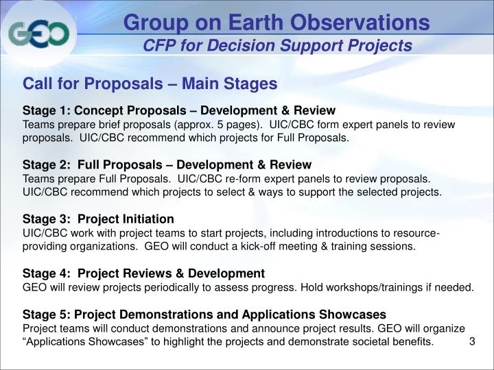 Group on earth observations cfp for decision support projects1