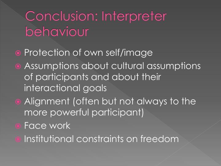 Conclusion: Interpreter behaviour