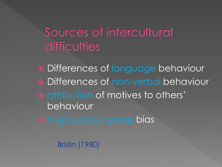 Sources of intercultural difficulties