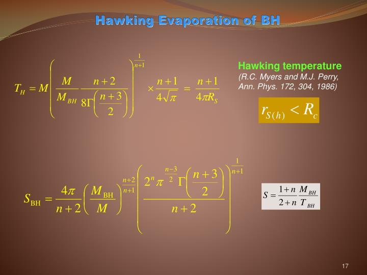 Hawking Evaporation of BH
