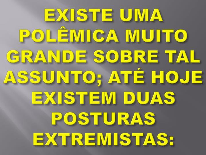 EXISTE UMA POLÊMICA MUITO GRANDE SOBRE TAL ASSUNTO; ATÉ HOJE EXISTEM DUAS POSTURAS EXTREMISTAS: