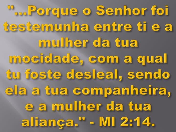 """""""...Porque o Senhor foi testemunha entre ti e a mulher da tua mocidade, com a qual tu foste desleal, sendo ela a tua companheira, e a mulher da tua aliança."""" - Ml 2:14."""