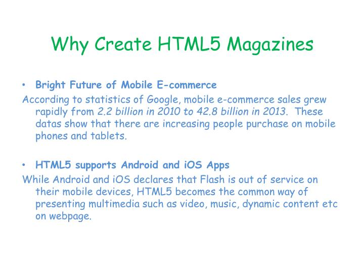 Why Create HTML5 Magazines