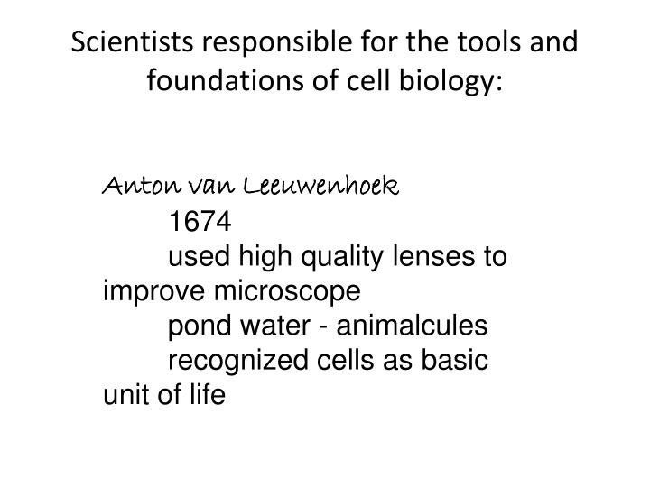 Scientists responsible for the tools and foundations of cell biology1