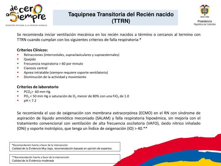 Taquipnea Transitoria del Recién nacido (TTRN)