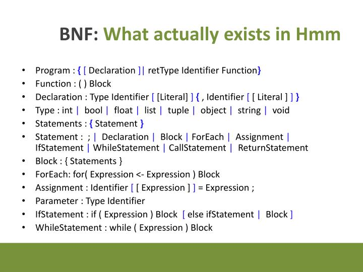 Bnf what actually exists in hmm