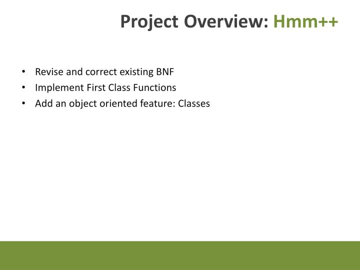 Project overview hmm