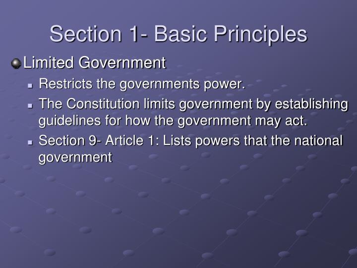 Section 1- Basic Principles