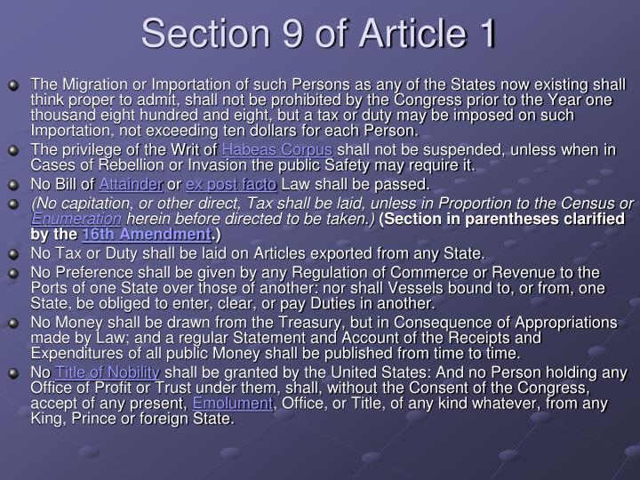 Section 9 of Article 1