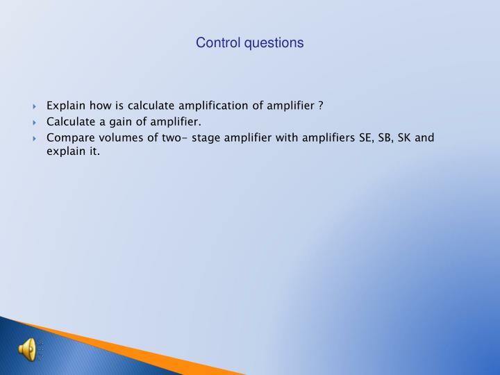 Control questions