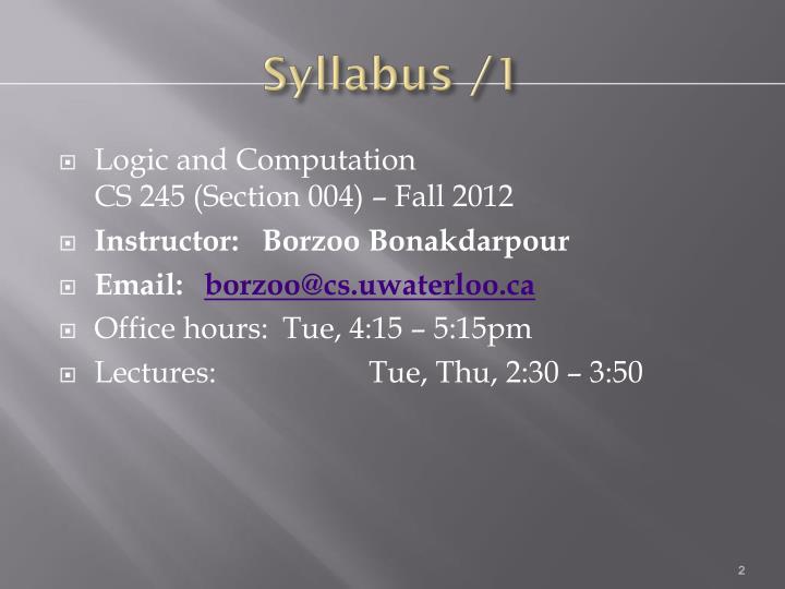 Syllabus /1