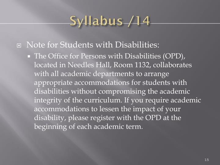 Syllabus /14