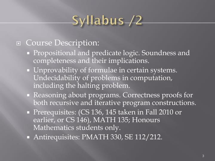 Syllabus /2