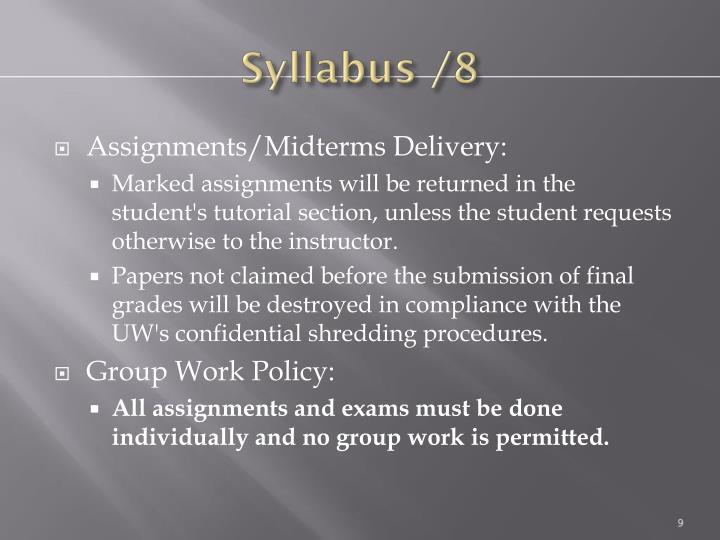 Syllabus /8