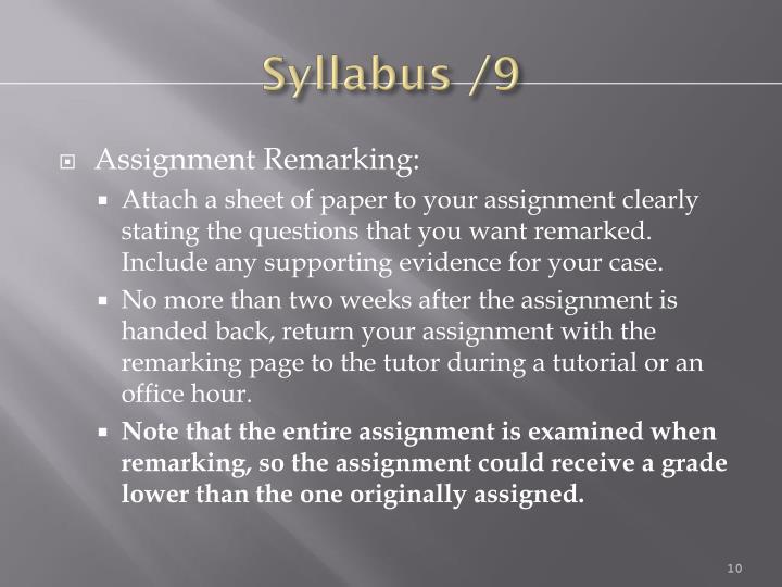 Syllabus /9
