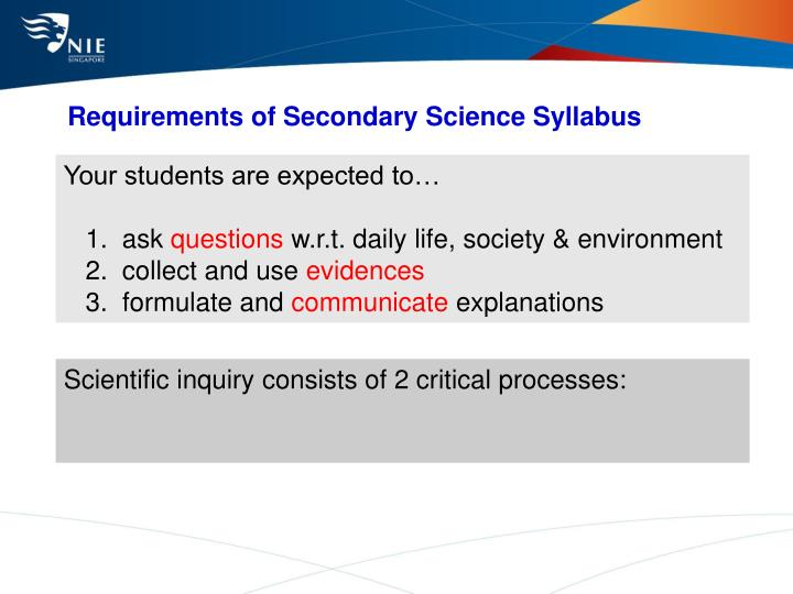 Requirements of Secondary Science Syllabus